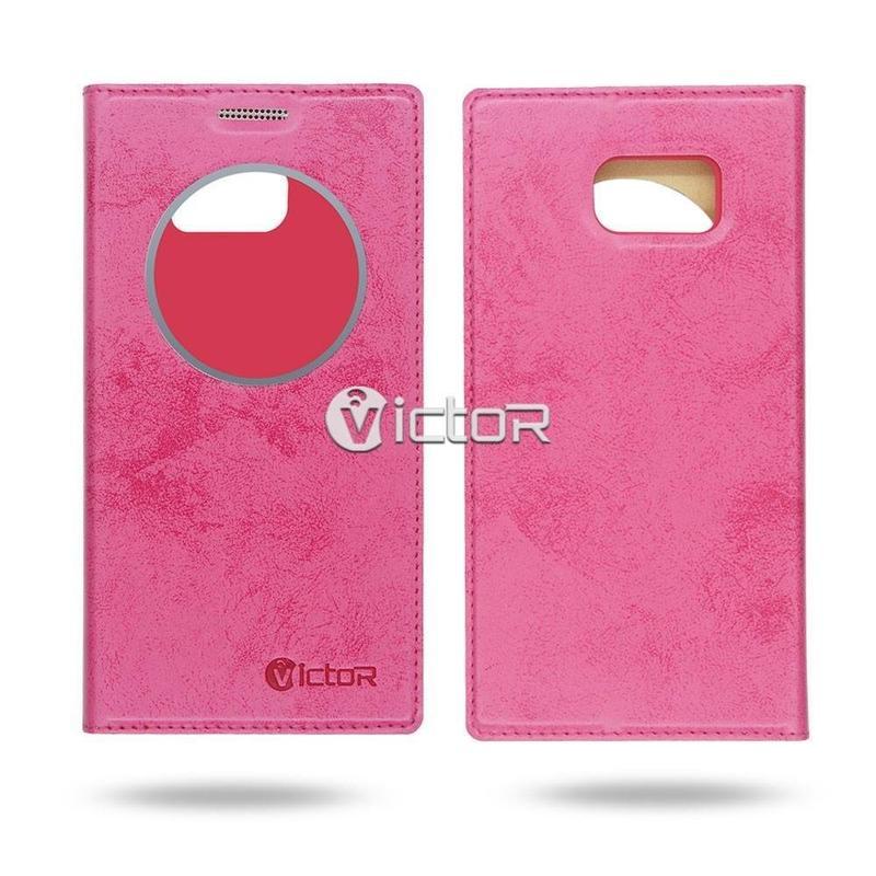 Victor VI-LC-160402 PU estuche de ventana inteligente con aplicaciones para Samsung S7 borde
