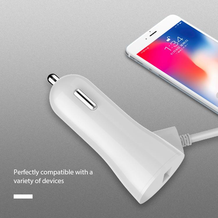 Cargador de coche rápido USB Mocel con cable para iPhone X XS XR