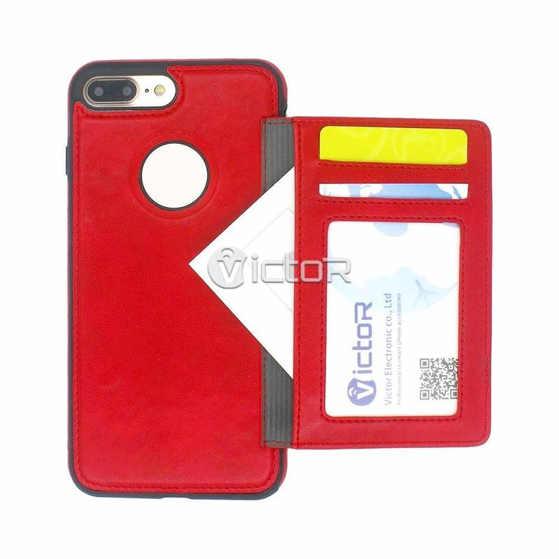 Victor iPhone 7 PU Caja de teléfono de cuero con titular de la tarjeta separada