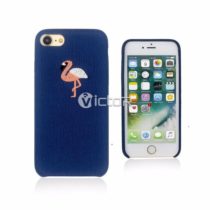Victor Simple Phone Case for iPhone 7 with Lovely Embroidered Back Cover