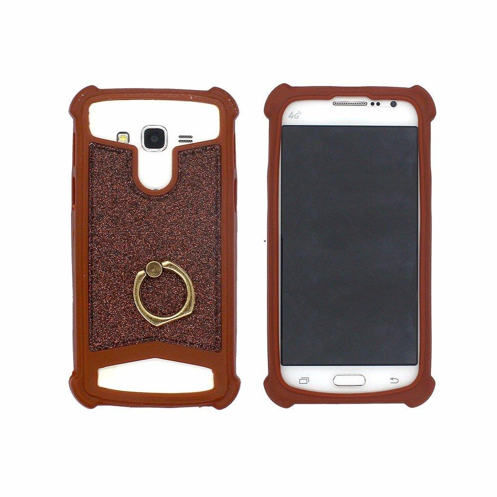 Victor Universal Silicone Protector Case Pasted with Leather Back and Ring
