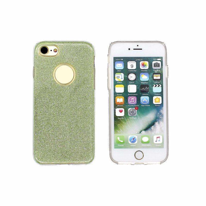 3in1 TPU Phone Case for iPhone 7 with Glittering Powder Paper