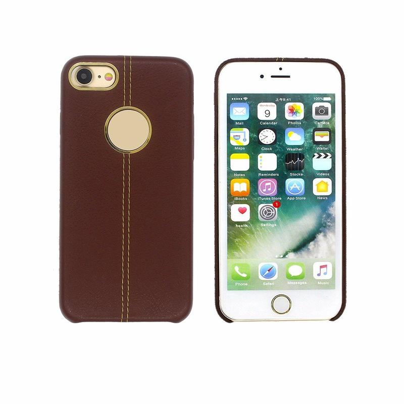 Leather Case for iPhone 7 with Sewed Thread Back Cover