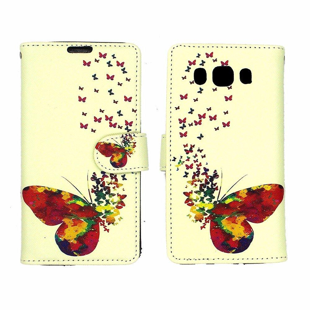 Butterfly Image Leather Case for Samsung J5