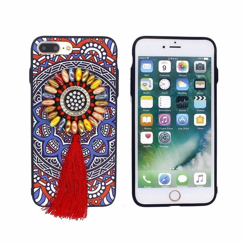 Caja de estilo bohemio teléfono para el iPhone 7 más con la perla hecha a mano