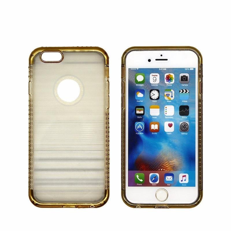 Medio claro TPU iPhone 6 caso con parachoques de diamante