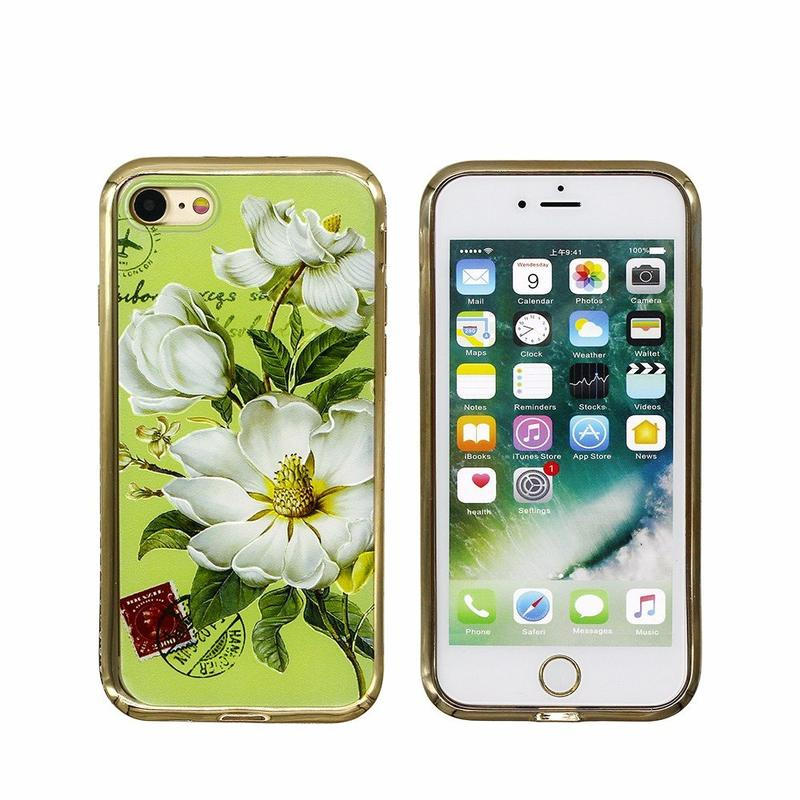 Embossed Pretty TPU Phone Case for iPhone 7 with Diamond Bumper