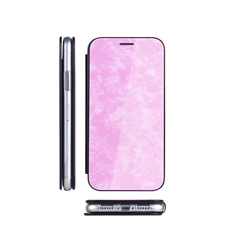 Acrílico + PU Funda de cuero con flip de patrón personalizado para iPhone XS con soporte de tarjeta