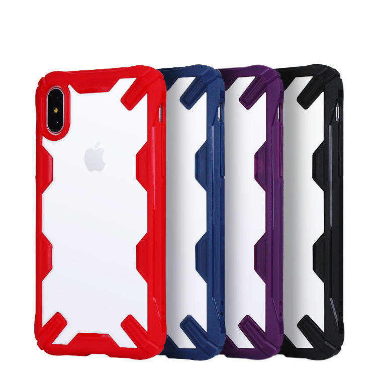 Colored Border Car Shape Transparent Back Cover Case for Apple iPhone X