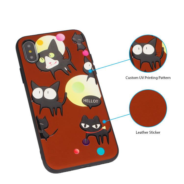 Patrón de impresión UV personalizado de cuero etiqueta iPhone Case