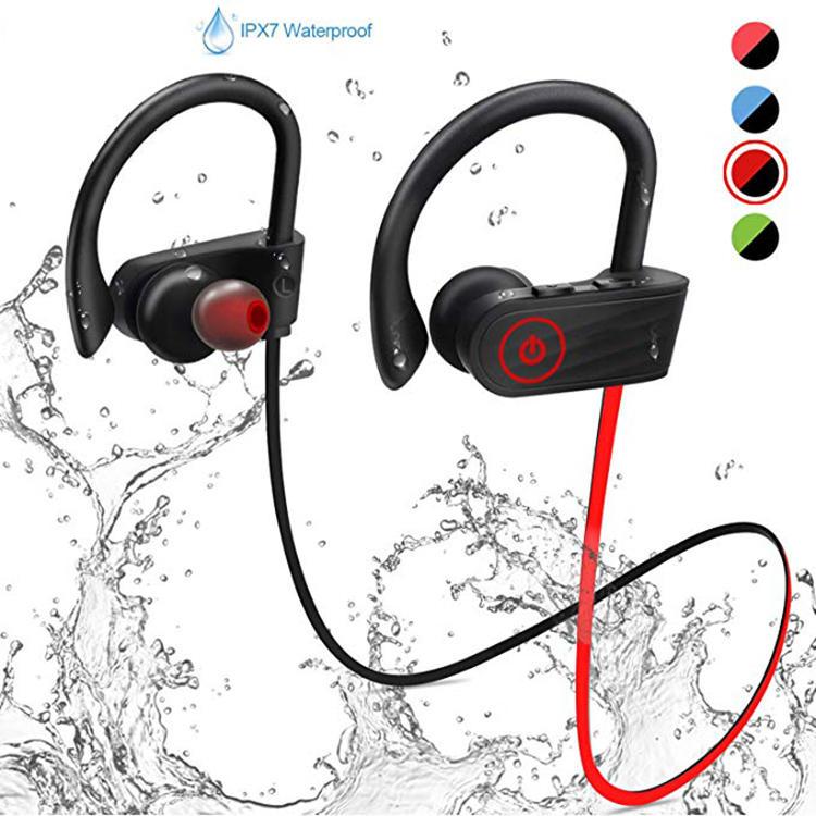 Amazon mejor venta de auriculares IPX 7 a prueba de agua Bluetooth, auricular de banda de cuello estéreo inalámbrico de auricula