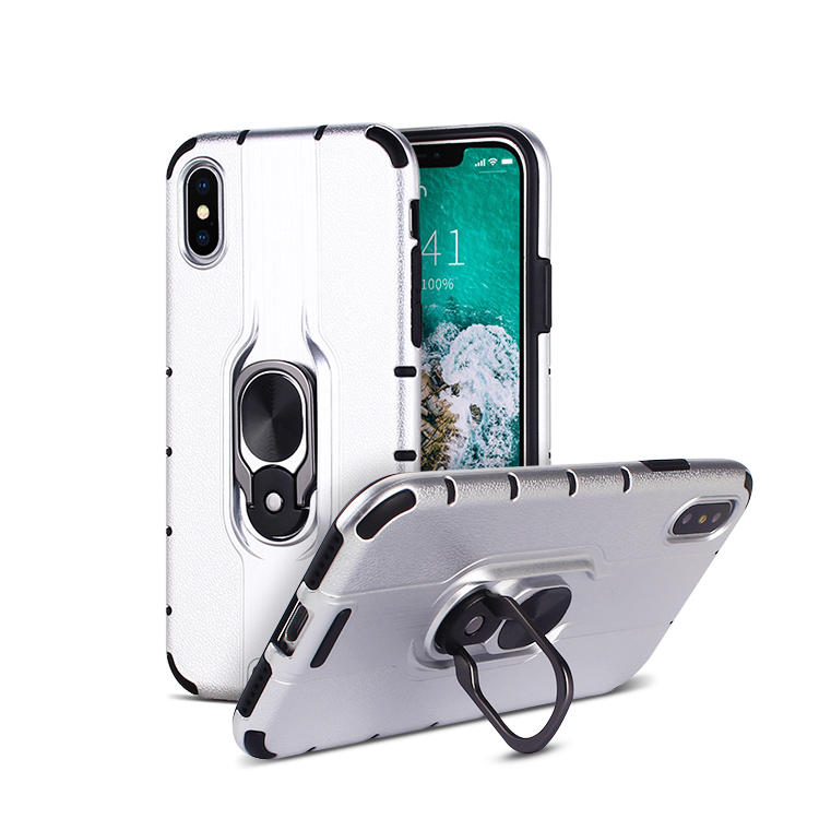 Super Thin Combo IPhone X XS Case with Car Mount Ring holder Kickstand