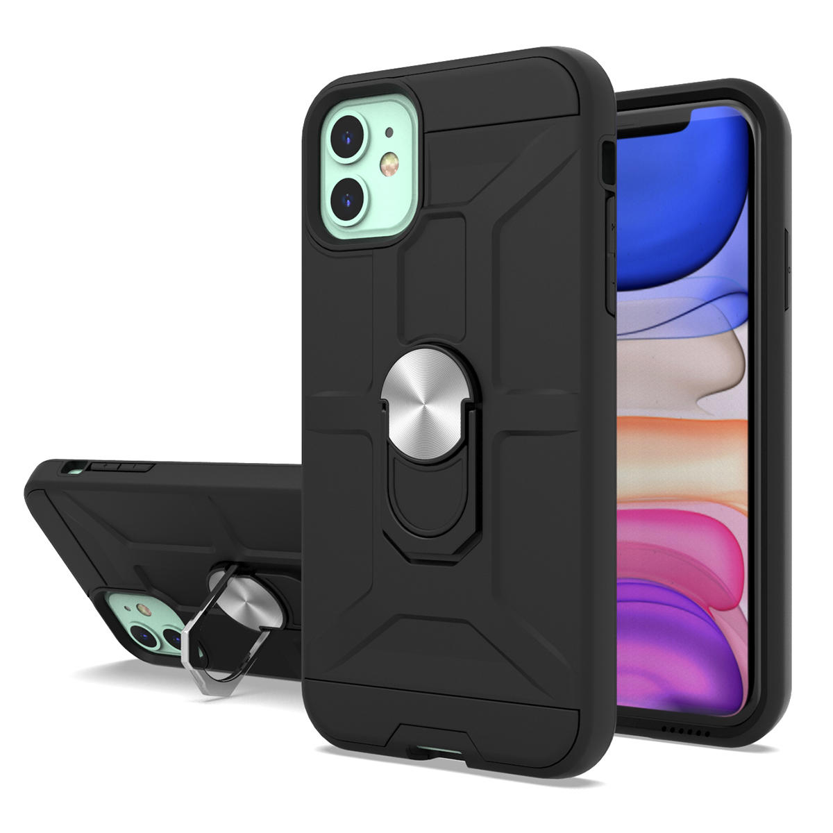 iPhone 11 Phone Case with Ring Holder and Kickstand