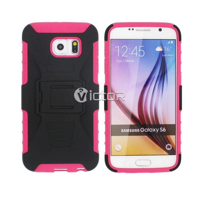 Victor VI-BELTCASE-Y002 TPU + PC caso con funda de cuero para Samsung S6