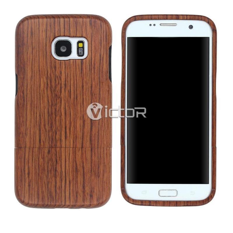 Caja de madera de Kevlar Víctor VI-madera-K026 para borde de Samsung S7