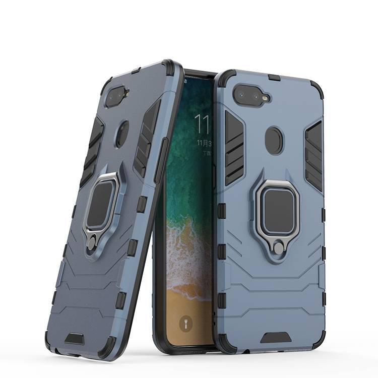 Caja del teléfono híbrido a prueba de choques con protección completa 360 para Oppo F9 con soporte de anillo metálico y pie de a
