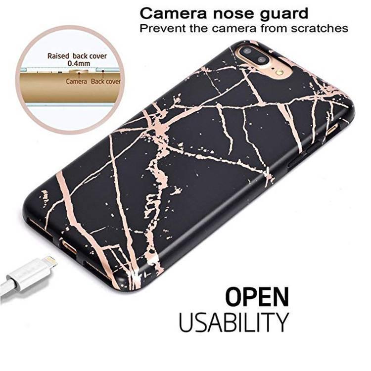 Caja suave de lujo del teléfono de mármol de la cubierta suave de TPU para el iPhone 7/8 / X / XS
