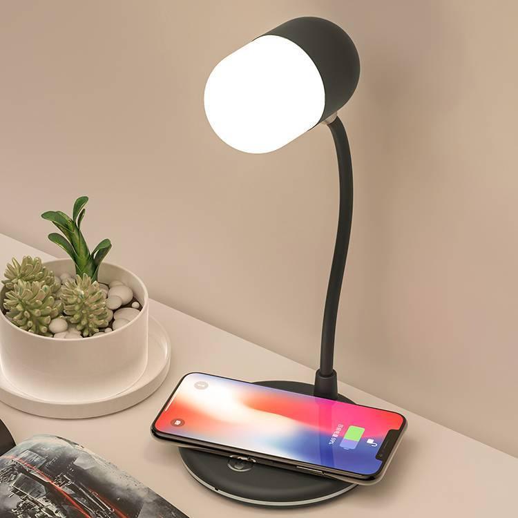 Cargador inalámbrico rápido multifuncional con lámpara de escritorio LED y altavoz Bluetooth