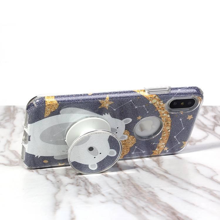 Cute design 3 in 1 Pop socket case for iPhone X