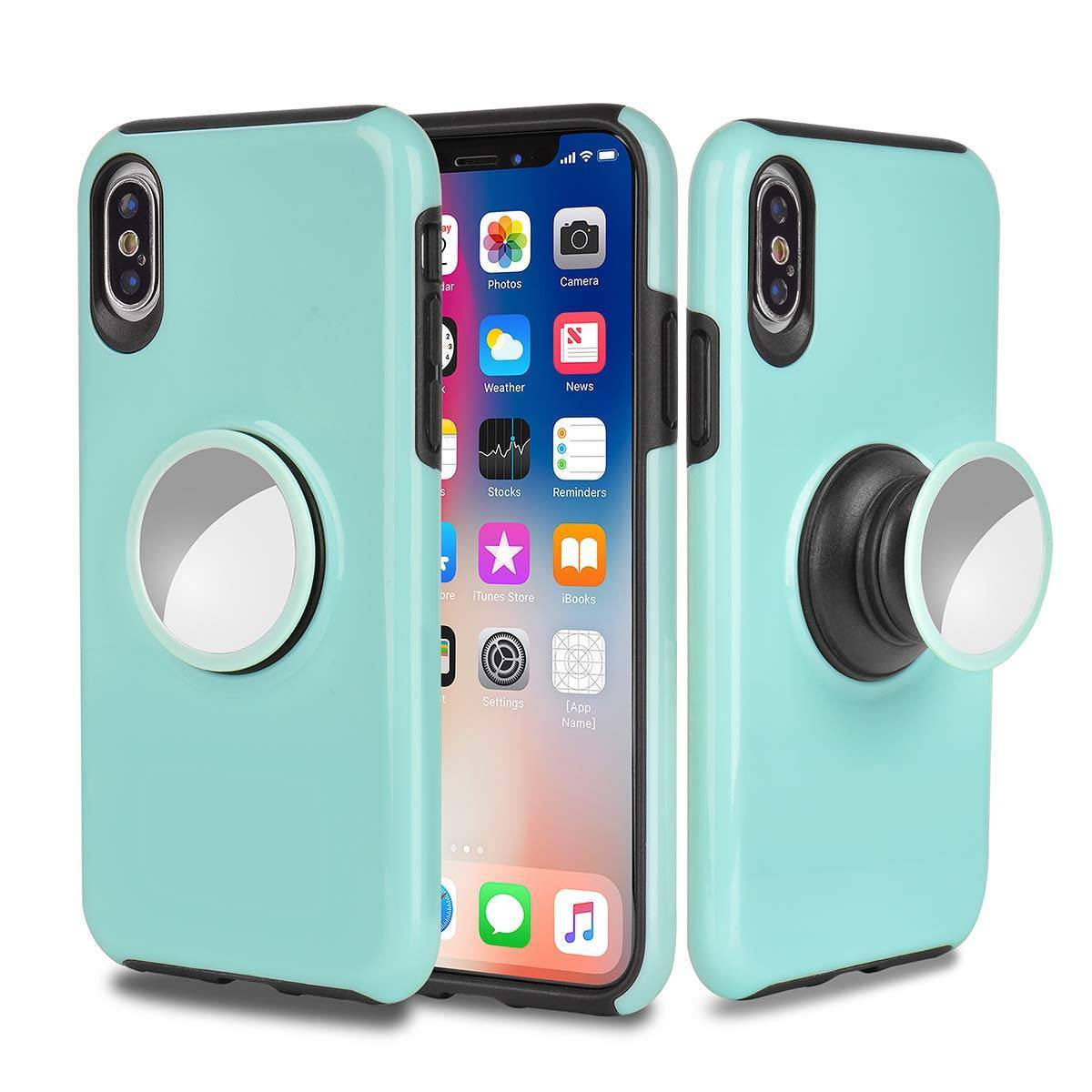 2 in 1 Hybrid Hard PC TPU iPhone X Case with Pop Socket