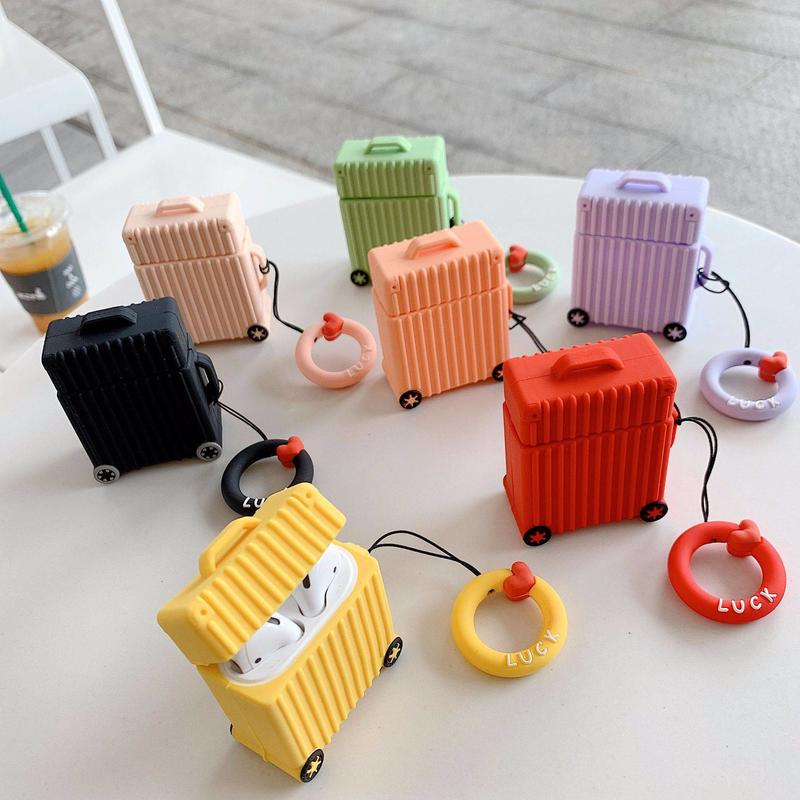 Cute Suitcase Luggage Design Airpod Silicone Case Cover with Finger Ring Strap