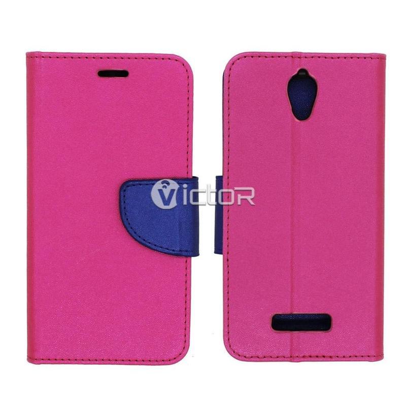 Víctor magnético PU cuero Billetera tarjeta ranura cubierta estuche para Huawei P8