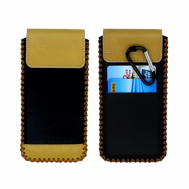 Victor Universal Slip Leather Case with Carabiner & Card Slot