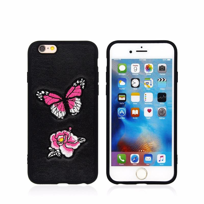 3D Embroidery Paste Leather TPU Phone Case for iPhone 6
