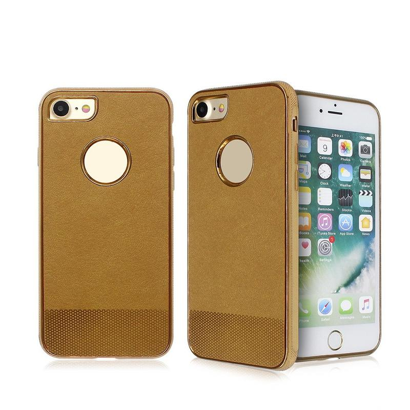 Electroplated iPhone 7 TPU Case Pasted with Leather