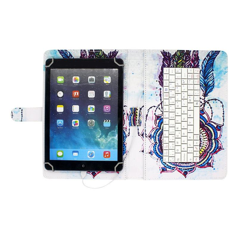 Fancy Artwork 10 Inch Tablet Case with Wired Keyboard