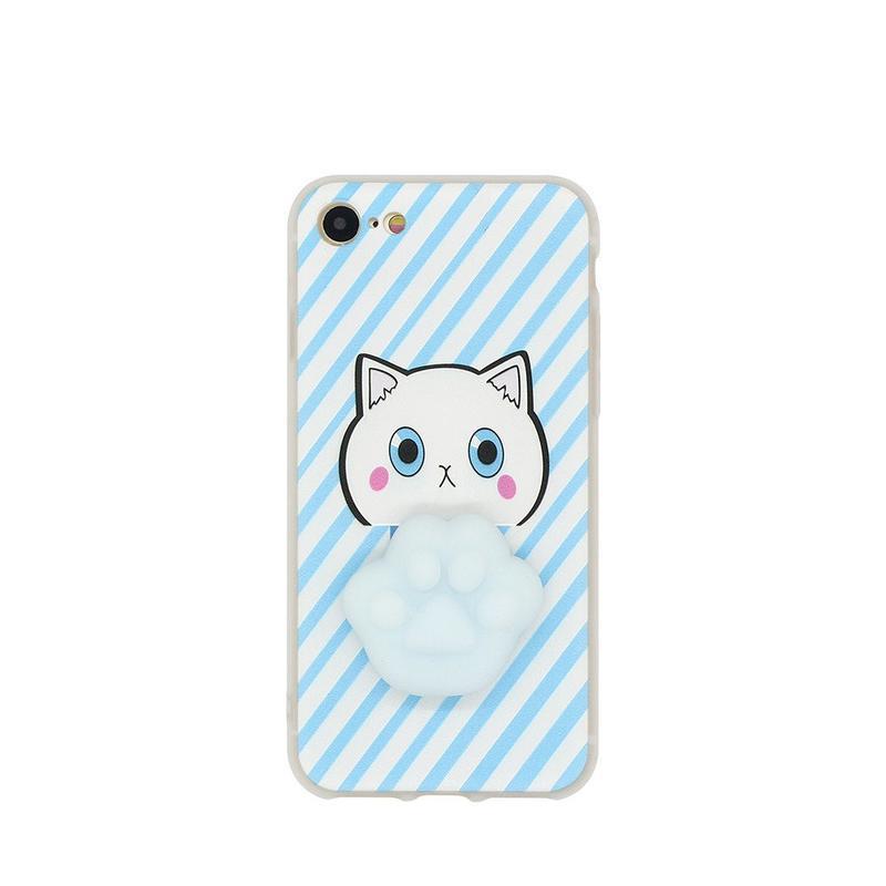 TPU Funda de teléfono para el iPhone 7 con la pata suave adorable del gato