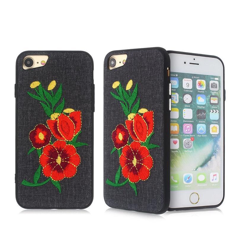 Pasta de cuero iPhone 7 Slim TPU caso con decoración de bordado
