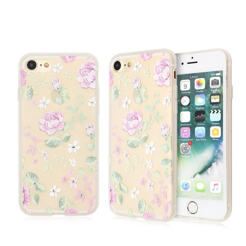 Pretty Phone Cases for iPhone 7 with Nice Artwork and Diamond Decor