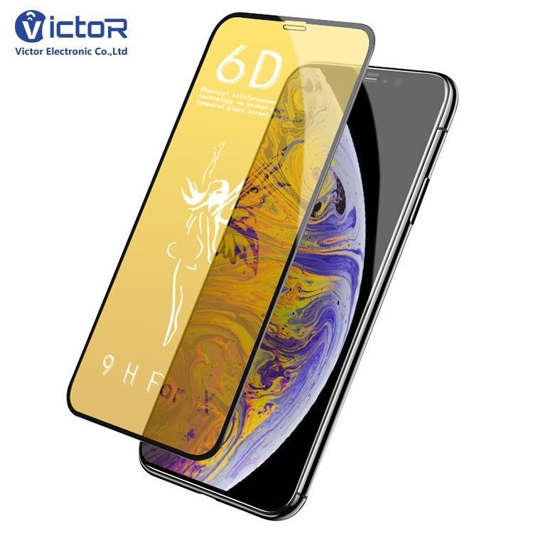 Protector de cristal moderado de la pantalla de la cubierta completa 6D 9H del pegamento completo para el iPhone X