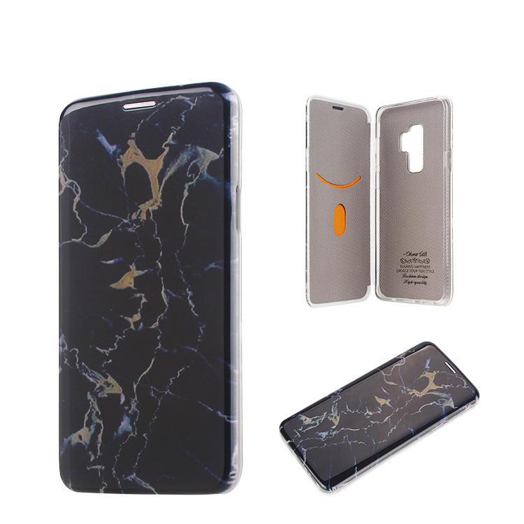 Cubierta de la caja del teléfono de la carpeta del tirón de mármol para Samsung galaxy S9
