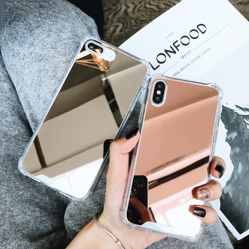 Caja de lujo del teléfono del espejo del maquillaje para el iPhone X XS MAX XR