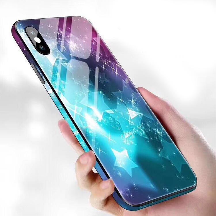 Funda de teléfono de vidrio de impresión en color de borde completo de moda para iPhone XR