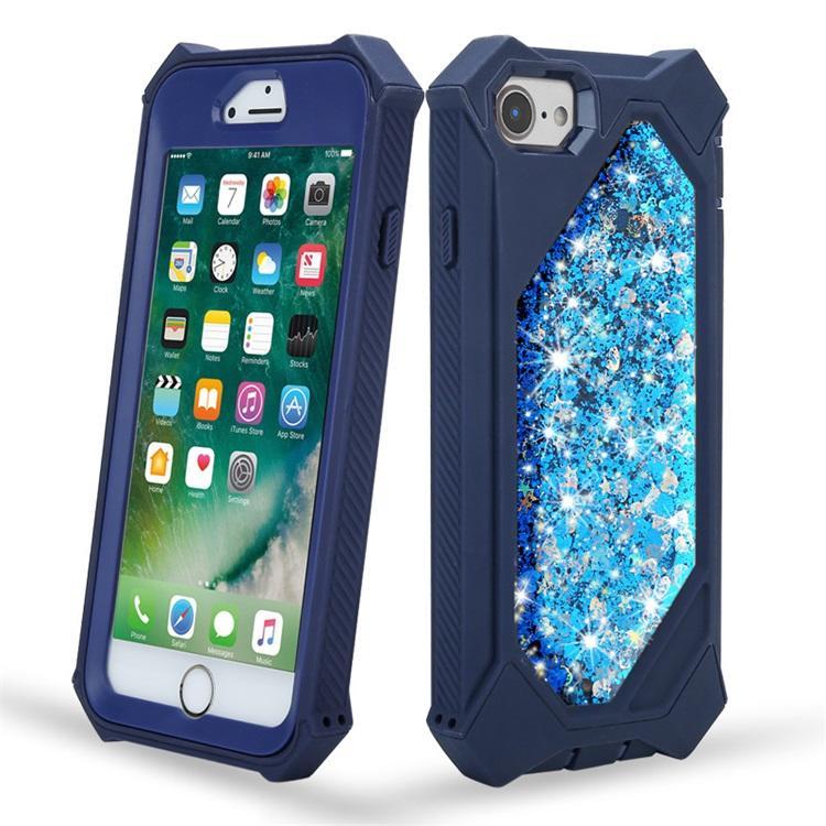 Bling Bling Liquid Glitter Funda para teléfono para iPhone 6 7 8 X XS XR Funda a prueba de golpes