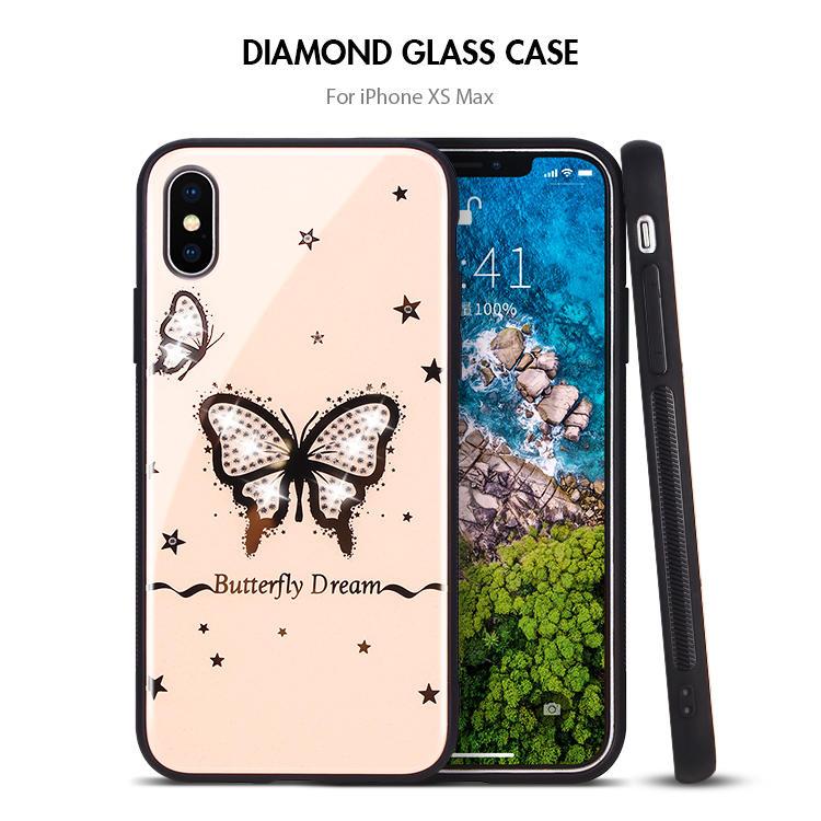 Bling Bling Diamond Funda de acrílico para teléfono Funda trasera para iPhone X XS