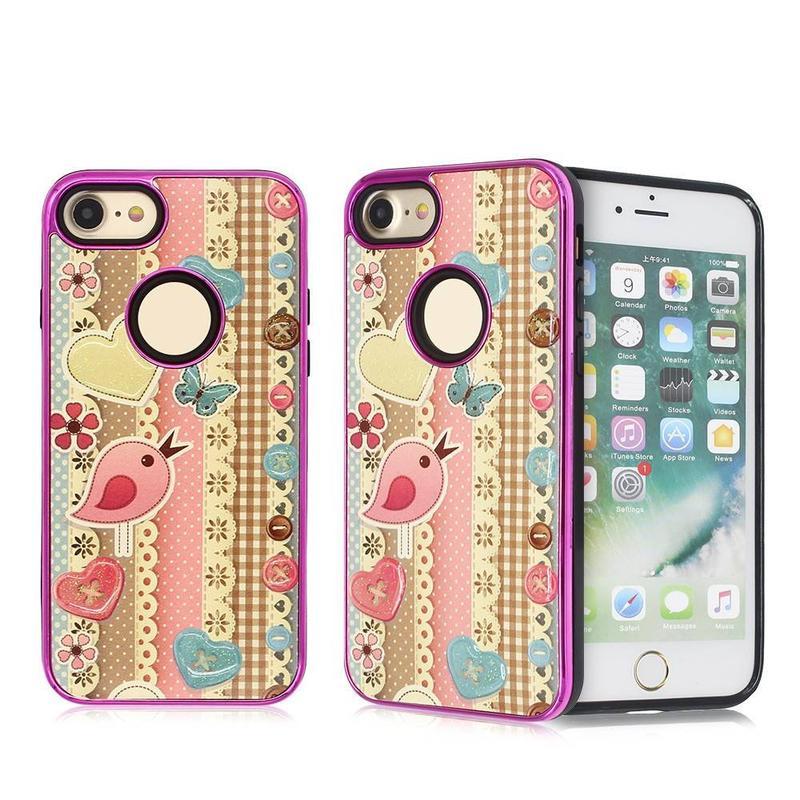 Colorido iPhone 7 TPU caso combinado con gota pegamento decoración