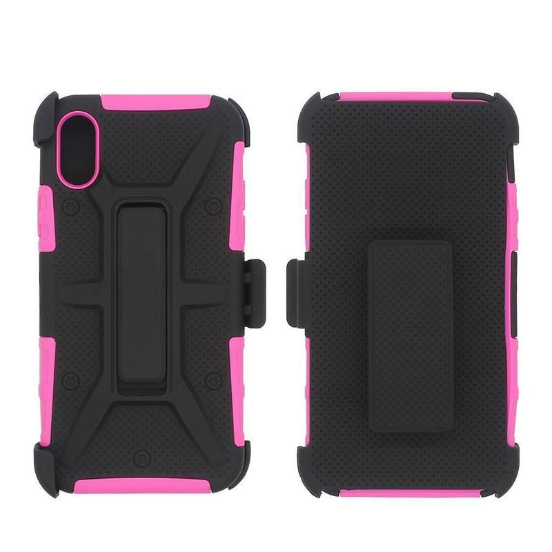 360 estuche protector para iPhone X con Kickstand y clip de cinturón