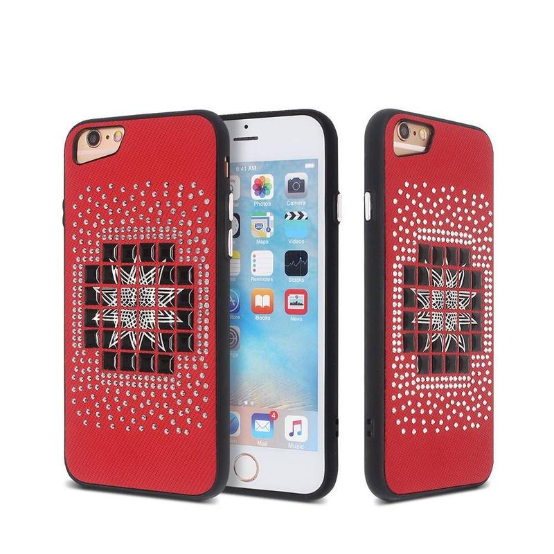iPhone 6 and iPhone 7 Case with PU and Diamond Decoration