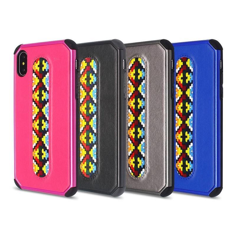 La esquina consolida la caja del teléfono iPhone X con la decoración del bordado