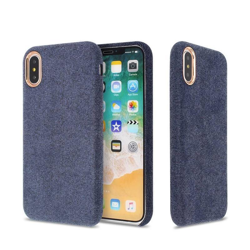 Estuche delgado para iPhone X con respaldo de tela pegada para mayorista
