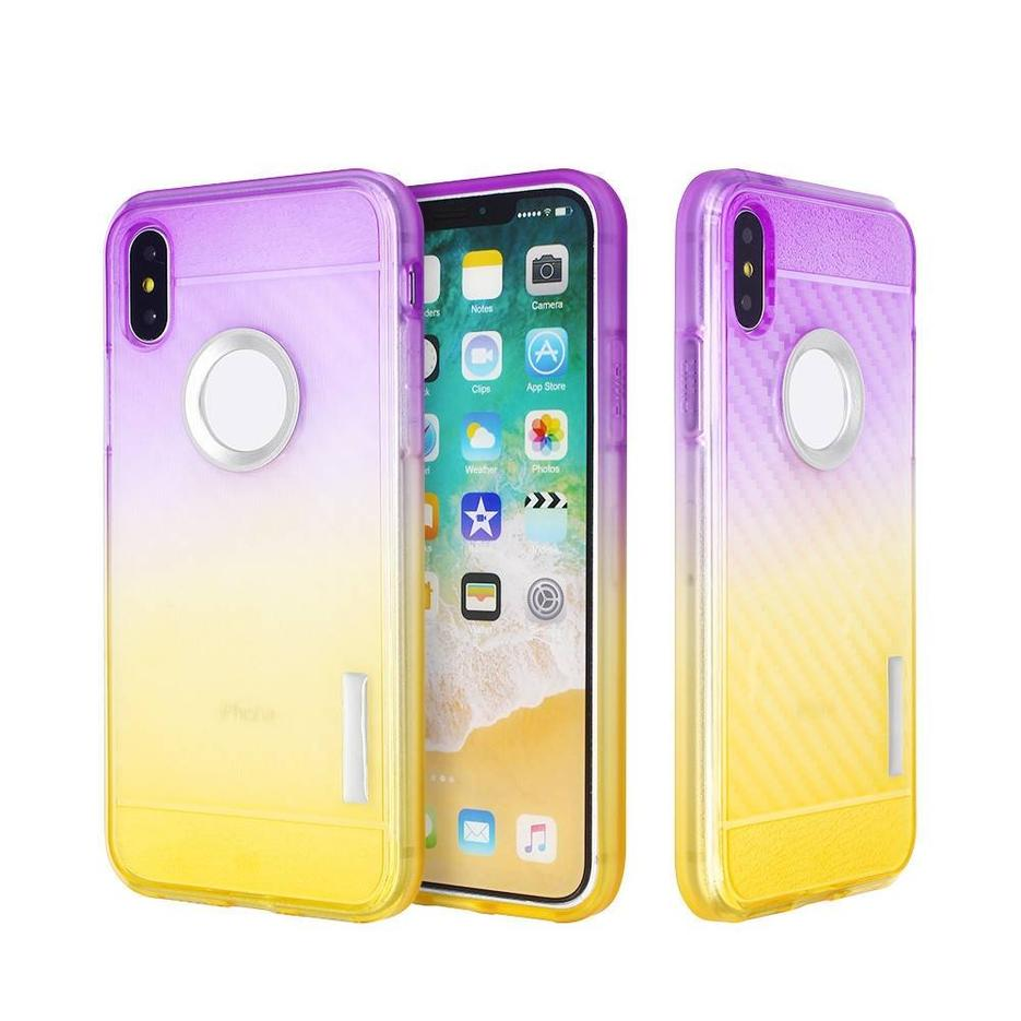 Gradient Color TPU iPhone X Case with Carbon Fiber Grooves