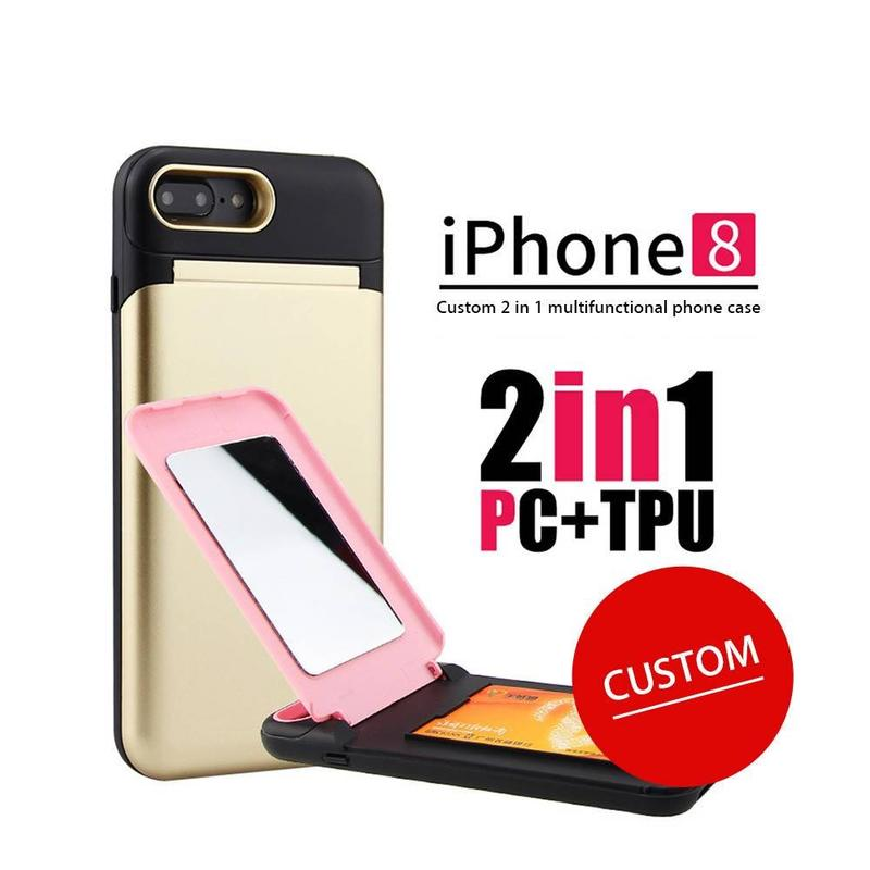 Strong iPhone 8 Plus Case with Card Slot and Mirror