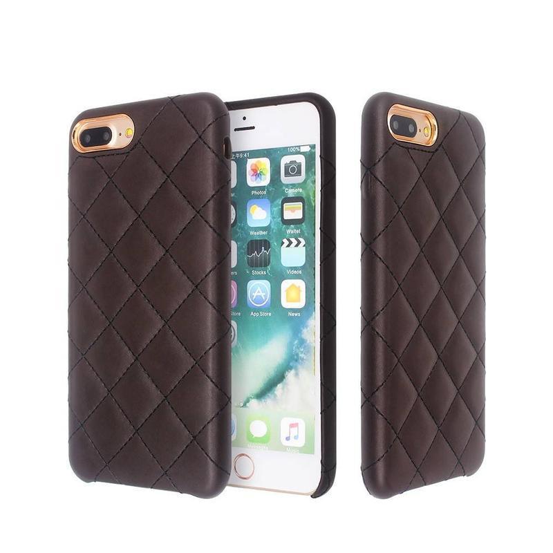Funda de cuero delgada para iPhone 7 Plus con ranuras cruzadas