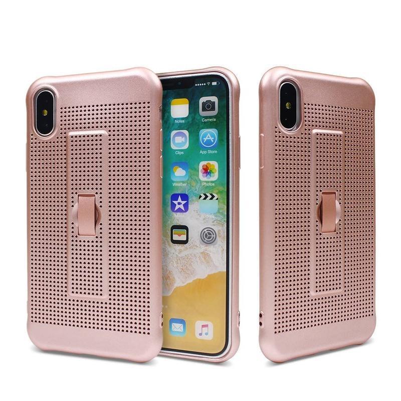 Funda para teléfono con disipación de calor iPhone X con agarre de dedo