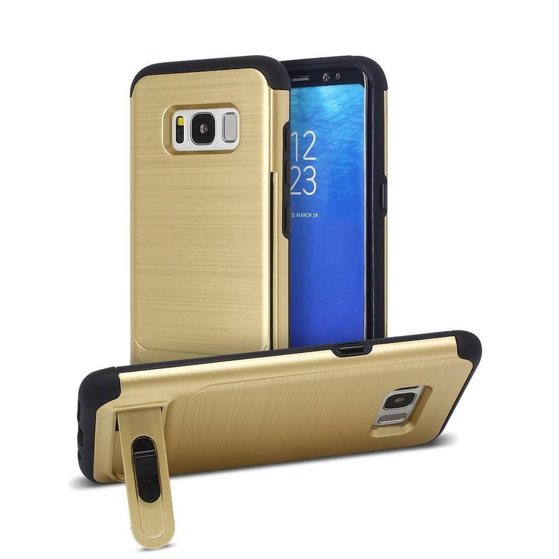 Estuche Galaxy S8 con dibujo de alambre hacia atrás y un portatarjetas