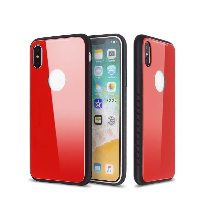 Bonitos casos de iPhone X con respaldos de vidrio y parachoques de TPU